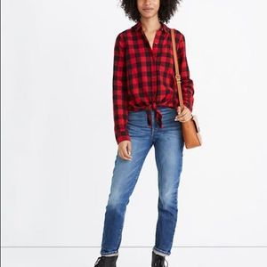 Madewell sm Flannel Tie-Front Shirt Buffalo Plaid